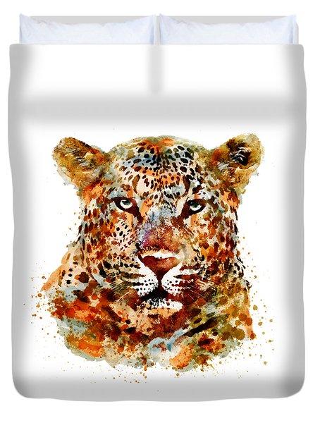 Leopard Head Watercolor Duvet Cover