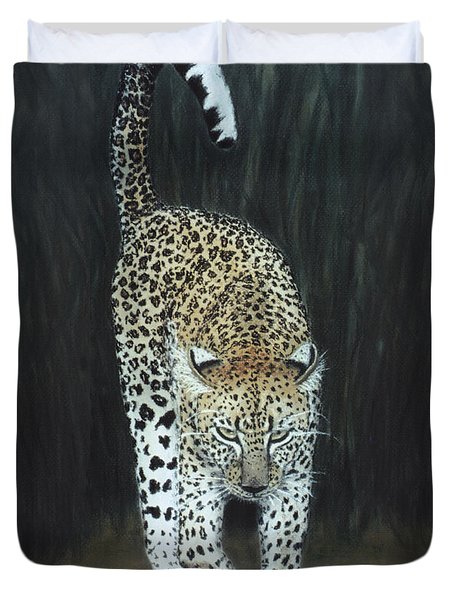 Duvet Cover featuring the painting Leopard by Karen Zuk Rosenblatt