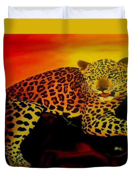 Leopard On A Tree Duvet Cover