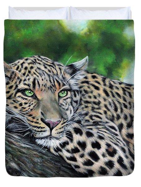Leopard On Branch Duvet Cover