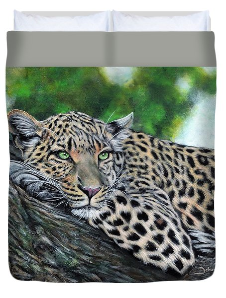 Leopard On Branch Duvet Cover