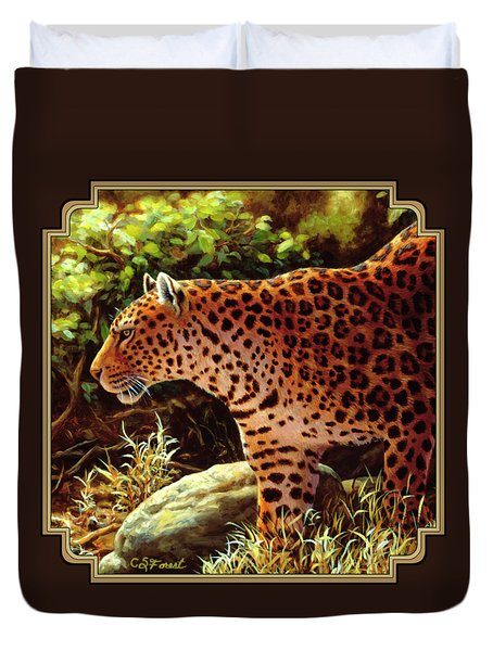Leopard Painting - On The Prowl Duvet Cover by Crista Forest