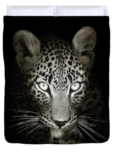 Leopard Portrait In The Dark Duvet Cover