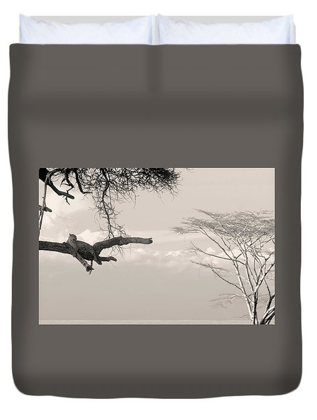 Duvet Cover featuring the photograph Leopard Resting On A Tree by Stefano Buonamici
