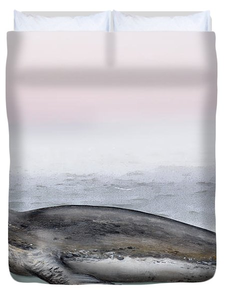 Duvet Cover featuring the painting Leopard Seal Hydrurga Leptonyx - Marine Mammal - Seeleopard by Urft Valley Art