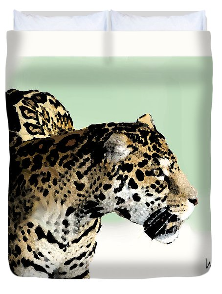 Duvet Cover featuring the digital art Leopard by Walter Chamberlain