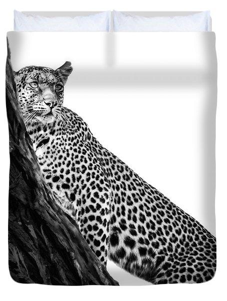 Duvet Cover featuring the photograph Leopard Watch by Gigi Ebert