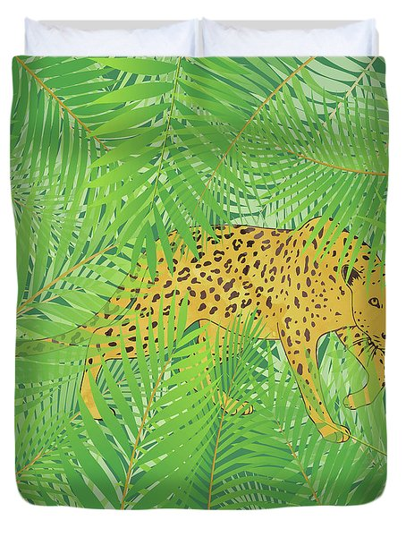 Leopard With Tropical Leaves Duvet Cover