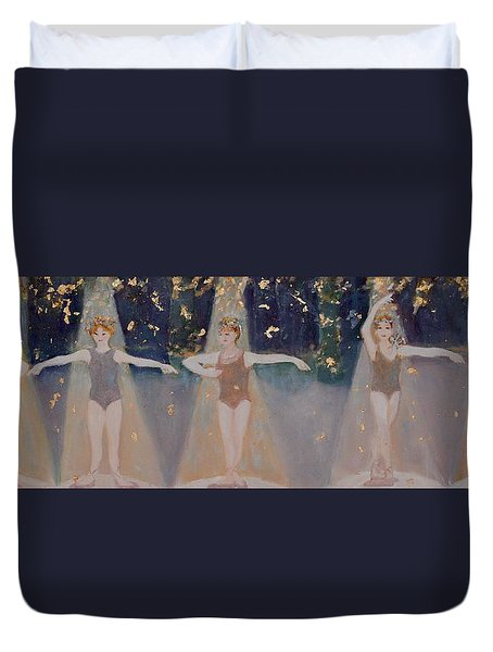 Duvet Cover featuring the painting Les Cinq Positions by Julie Todd-Cundiff