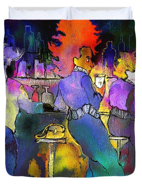 Les Filles Du Cafe De La Nuit Duvet Cover by Miki De Goodaboom