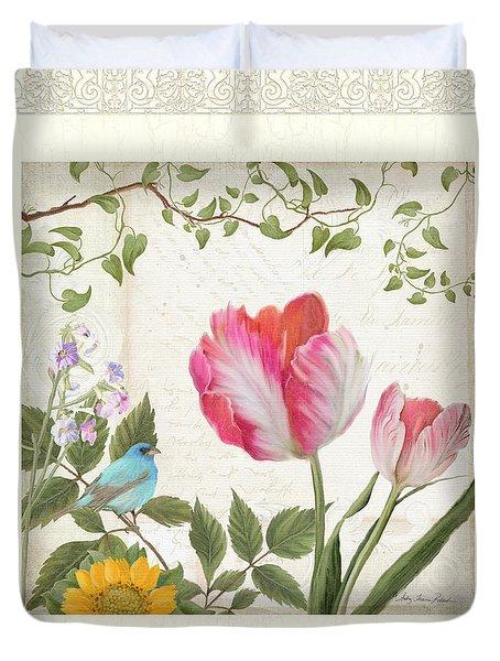 Les Magnifiques Fleurs I - Magnificent Garden Flowers Parrot Tulips N Indigo Bunting Songbird Duvet Cover by Audrey Jeanne Roberts