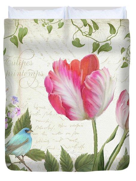Les Magnifiques Fleurs IIi - Magnificent Garden Flowers Parrot Tulips N Indigo Bunting Songbird Duvet Cover by Audrey Jeanne Roberts