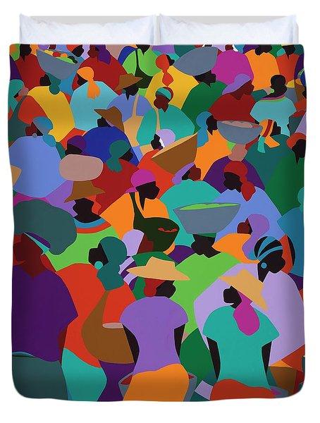 Les Palmes Market Haiti Duvet Cover