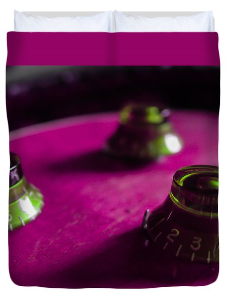 Guitar Controls Series Pink And Green Duvet Cover