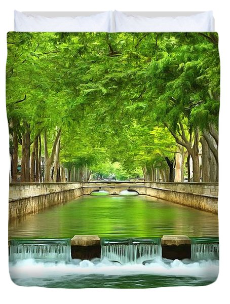 Les Quais De La Fontaine Nimes Duvet Cover by Scott Carruthers