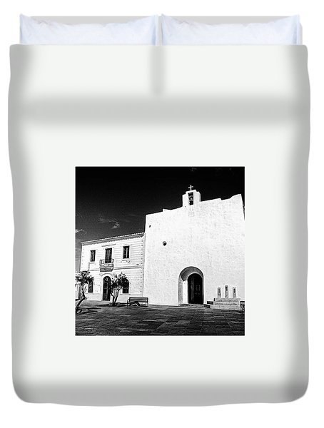 Fortified Church, Formentera Duvet Cover by John Edwards