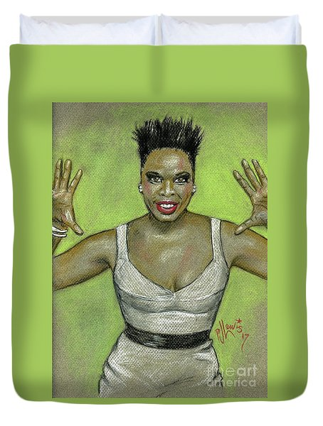 Duvet Cover featuring the drawing Leslie Jones by P J Lewis