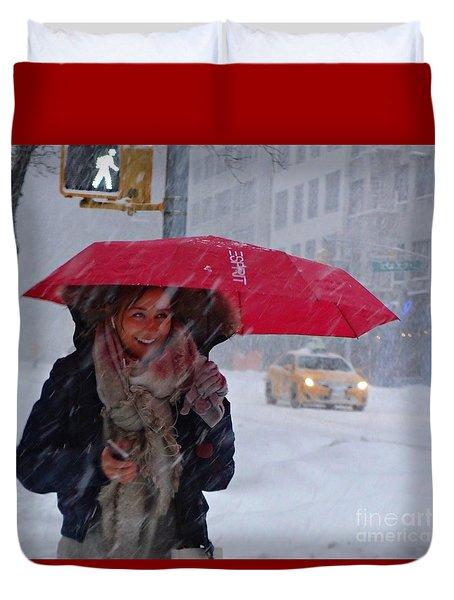 L Esprit De New York - Winter In New York Duvet Cover by Miriam Danar