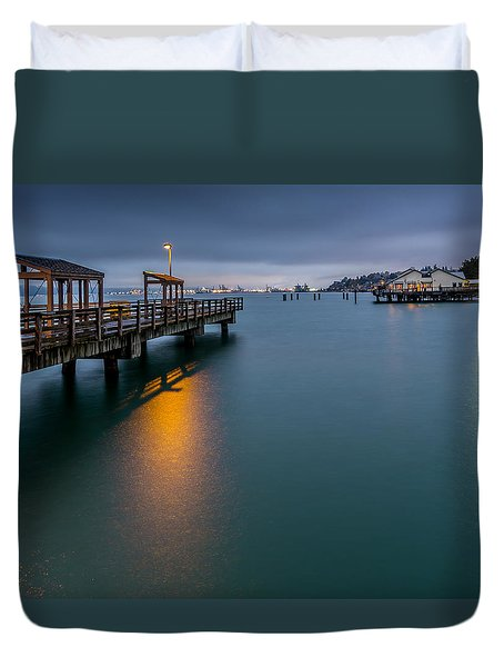 Less Davis Pier Commencement Bay Duvet Cover