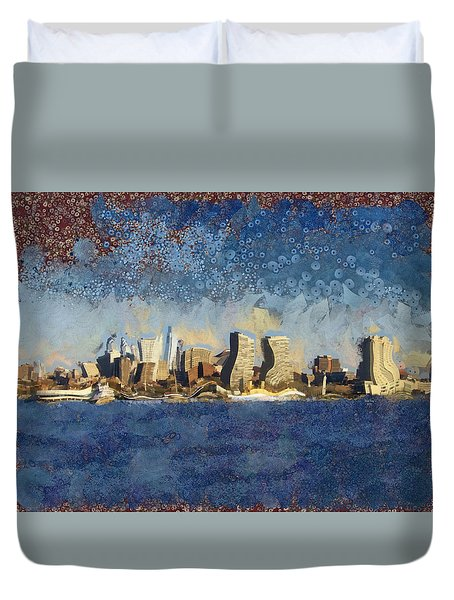 Duvet Cover featuring the mixed media Less Wacky Philly Skyline by Trish Tritz