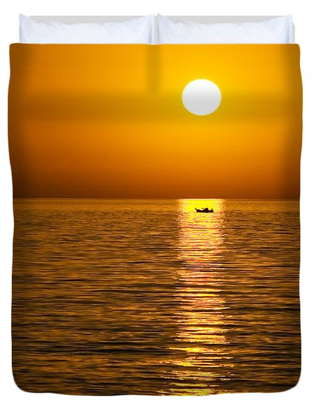 Lesvos Sunset Duvet Cover by Meirion Matthias
