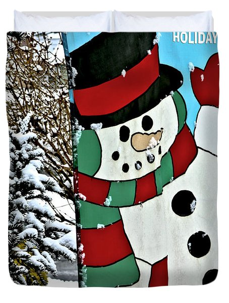 Let It Snow - Happy Holidays Duvet Cover by Carol F Austin