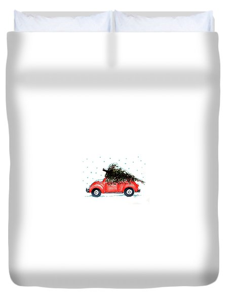 Duvet Cover featuring the painting Let It Snow by Heidi Kriel
