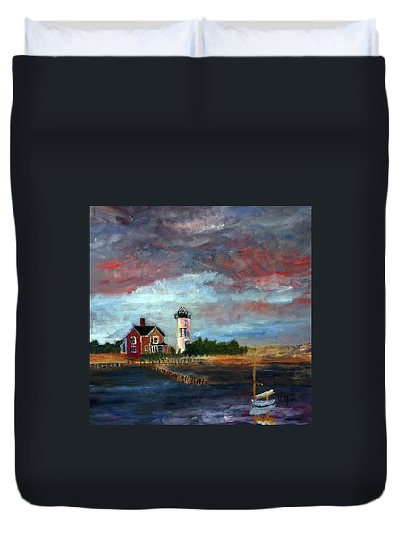 Duvet Cover featuring the painting Let There Be Light by Michael Helfen