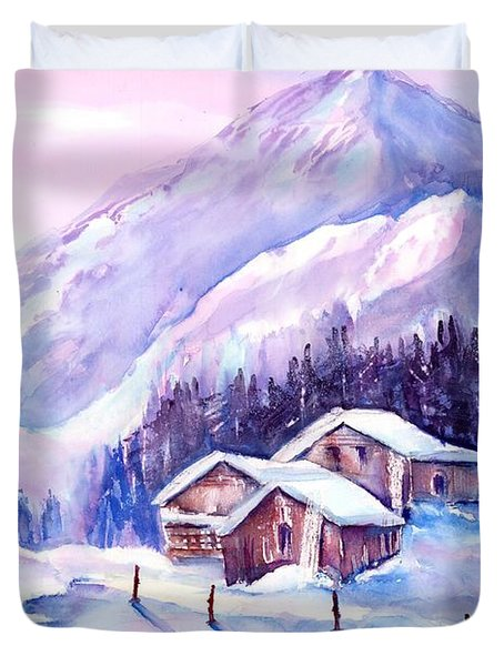 Swiss Mountain Cabins In Snow Duvet Cover