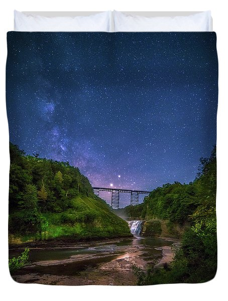 Duvet Cover featuring the photograph Letchworth At Night by Mark Papke