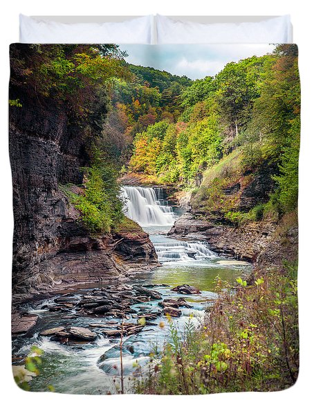 Letchworth Lower Falls In Autumn Duvet Cover
