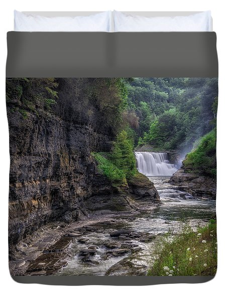 Duvet Cover featuring the photograph Letchworth Lower Falls - Summer by Mark Papke