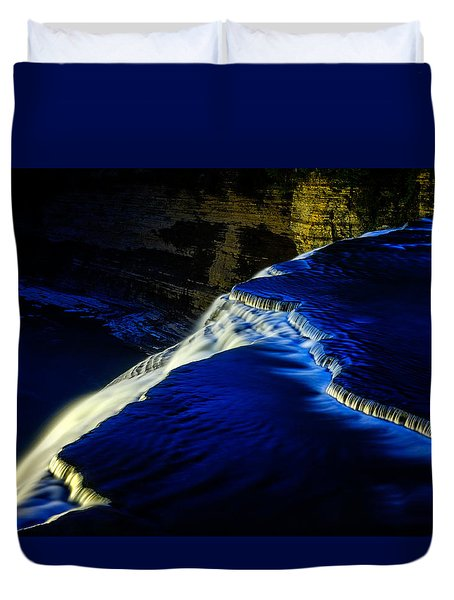 Letchworth Middle Falls After Dark Duvet Cover