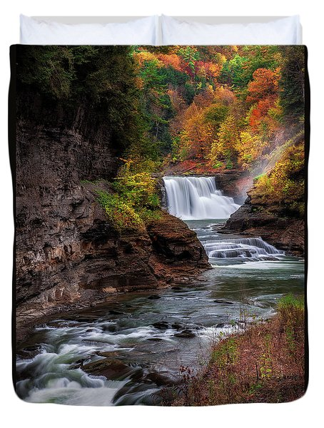 Letchworth State Park Lower Falls Duvet Cover