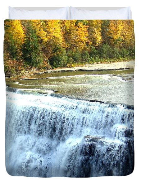 Letchworth State Park Middle Falls Autumn Duvet Cover