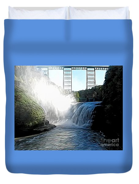 Letchworth State Park Upper Falls And Railroad Trestle Abstract Duvet Cover