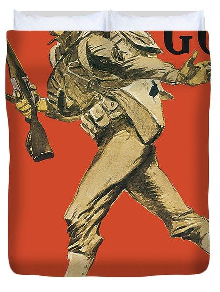 Let's Go - Vintage Marine Recruiting Duvet Cover