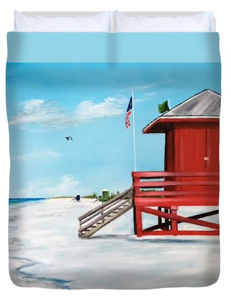 Let's Meet At The Red Lifeguard Shack Duvet Cover