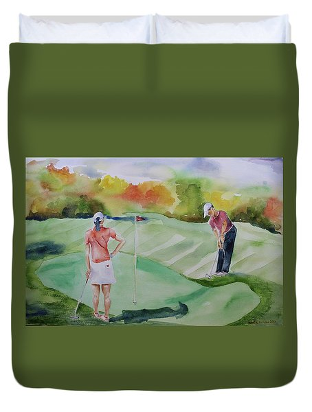 Let's Play Golf Duvet Cover by Geeta Biswas