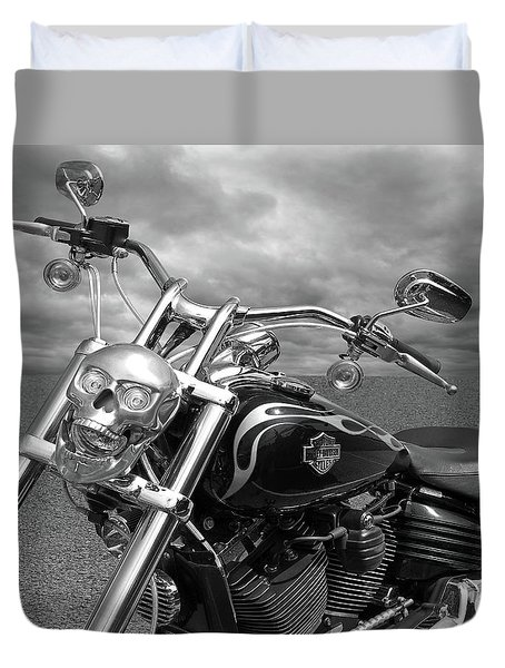 Let's Ride - Harley Davidson Motorcycle Duvet Cover by Gill Billington