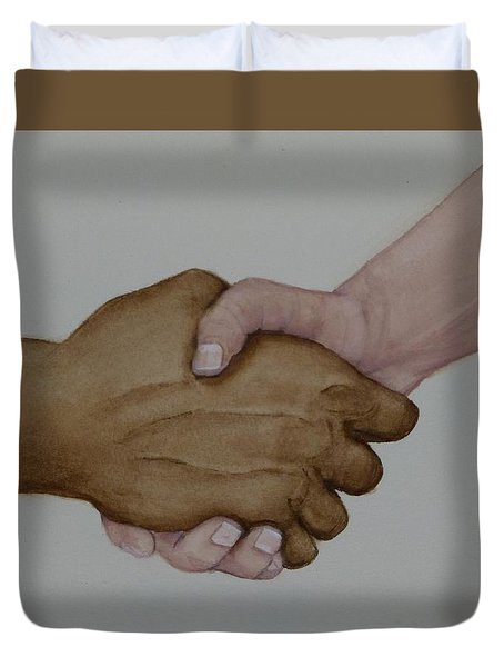 Let's Shake Hands On It Duvet Cover