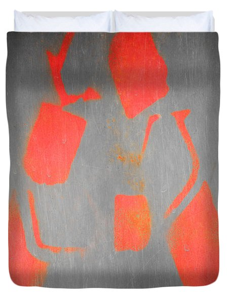 Duvet Cover featuring the photograph Letter A Red On Steel by Julie Niemela