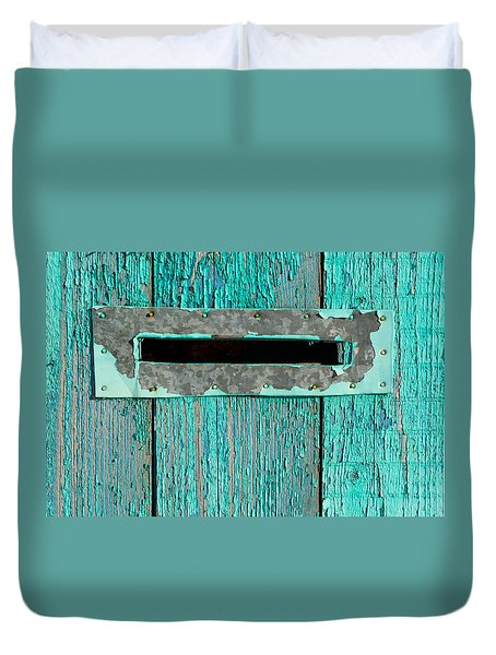 Duvet Cover featuring the photograph Letter Box On Blue Wood by John Williams