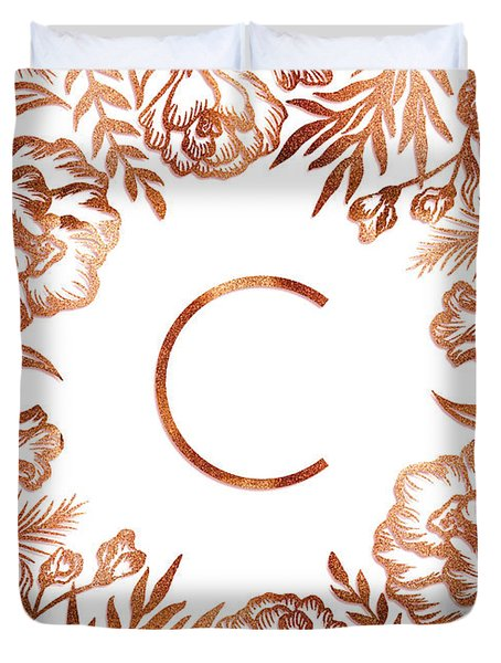 Letter C - Rose Gold Glitter Flowers Duvet Cover
