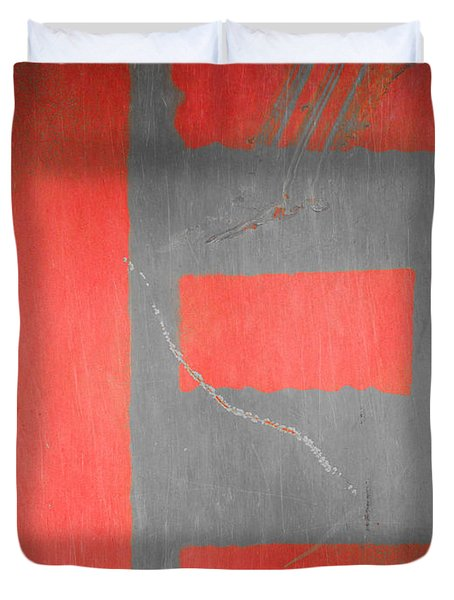 Duvet Cover featuring the photograph Letter E Red On Steel by Julie Niemela