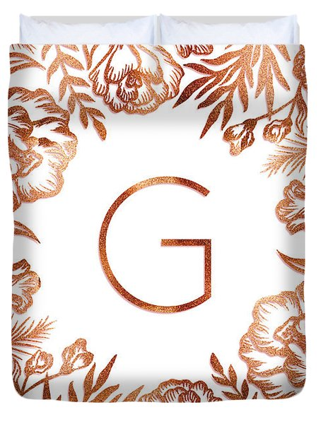 Letter G - Rose Gold Glitter Flowers Duvet Cover