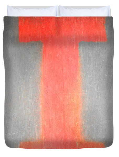 Duvet Cover featuring the photograph Letter I Red On Steel by Julie Niemela