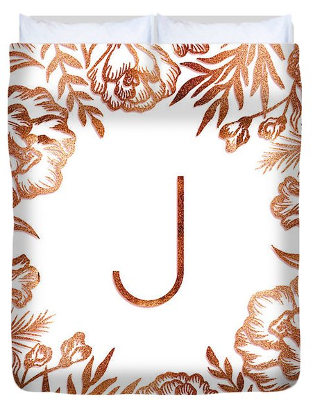 Letter J - Rose Gold Glitter Flowers Duvet Cover
