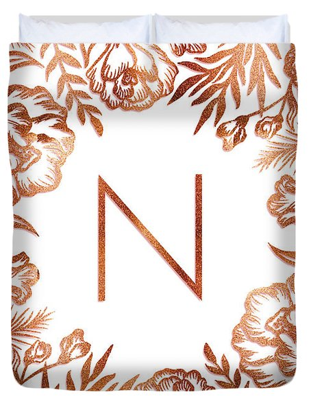 Letter N - Rose Gold Glitter Flowers Duvet Cover