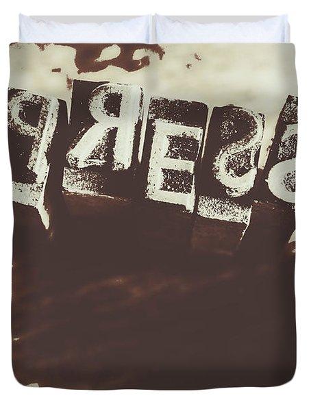 Letter Press Typeset  Duvet Cover